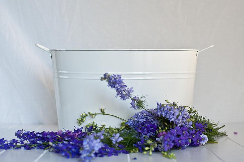 White Oval Tin Bucket