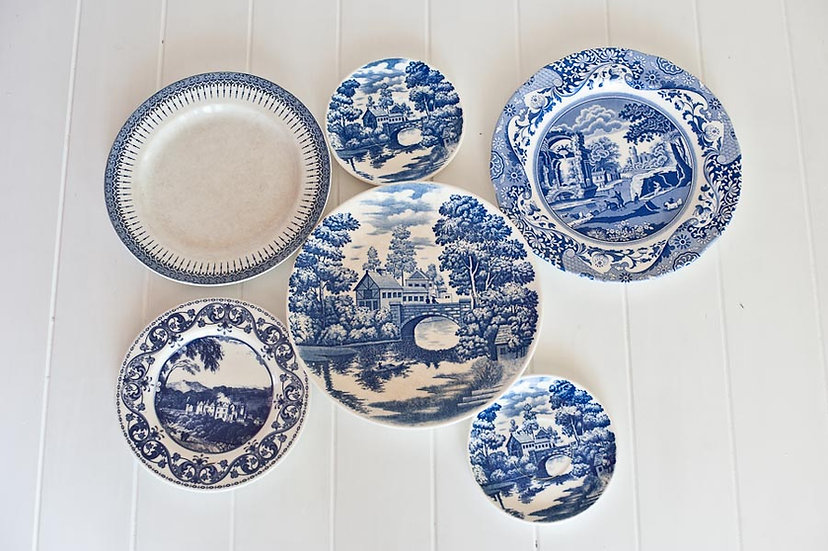 Vintage Blue and White China Dinner Plate