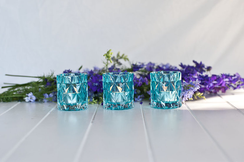 Blue Geometric Glass Tealight Holder