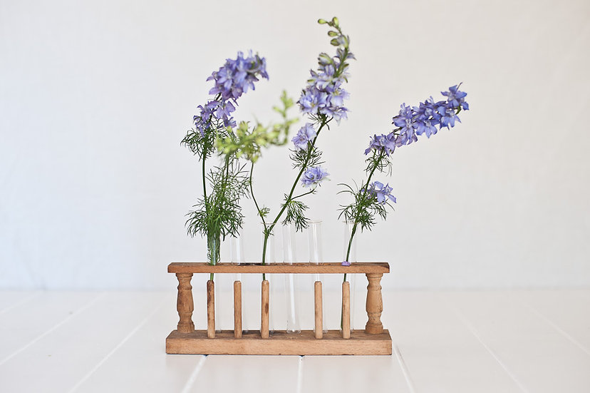 Vintage Test Tube Vase and Holder