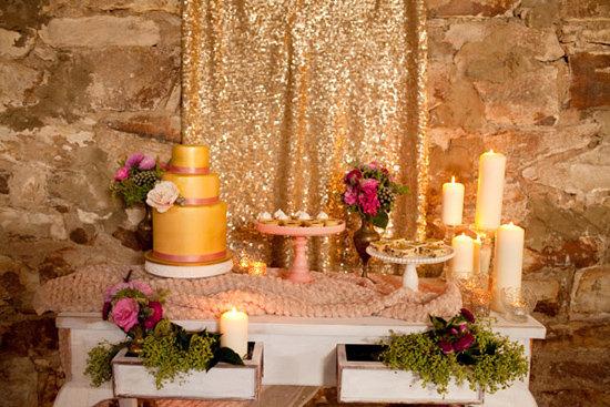 Gold Sparkle Table Cloth Overlay