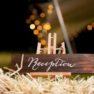 Rustic Wooden Signage - Reception