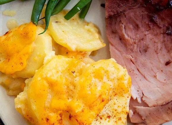 Honey Baked Ham, Potato Scallop, Veggie & Roll