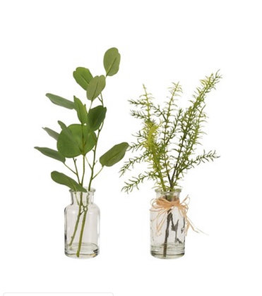 Set of Two vases with Foliage eucalyptus /fern