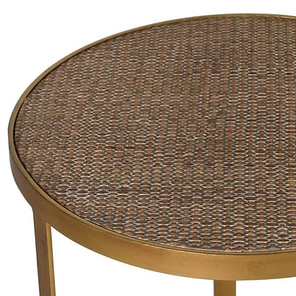 Nest of gold tables one glass top one woven top