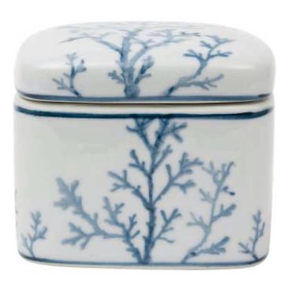 White Porcelain Box with Blue Coral Design