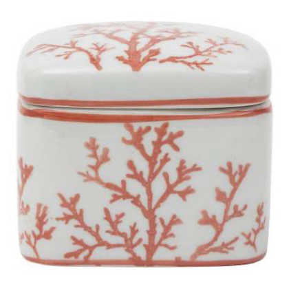 White Porcelain Box with Coral Design