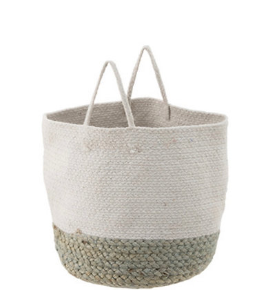 Jute Basket white /sage green large