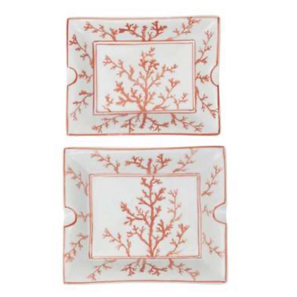 White ceramic  Trays with Coral design