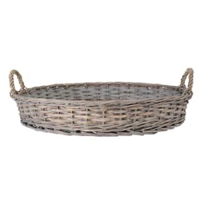 Round  Rattan  Tray With Glass Insert