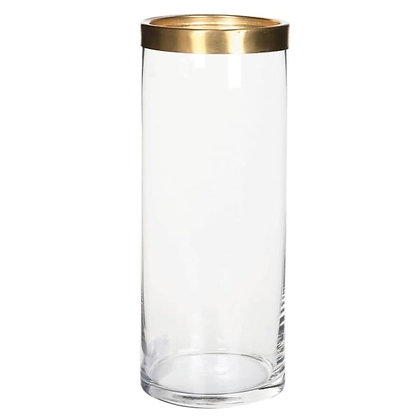 Tall glass Vase  with brass ring