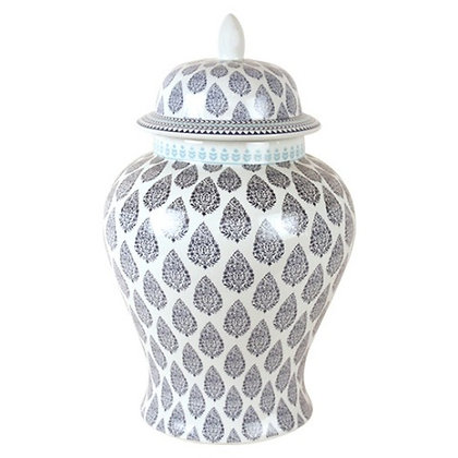 Temple Jar in Blue and White Paisley available in 3 sizes