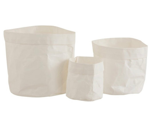 craft  paper white flower pots set of 3