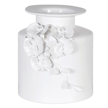 White vase with  3D  floral detail