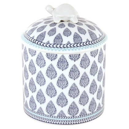 Canister with Blue and White Paisley design with Tortoise