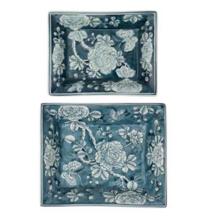 Ceramic Blue Trinket Trays  in set of 2