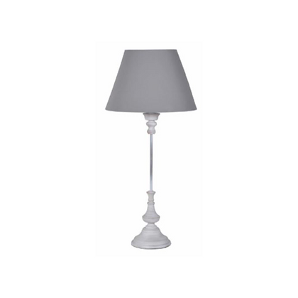 Thin Wooden Lamp with Grey Shade