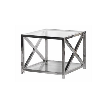 Glass / Steel Square Sidetable