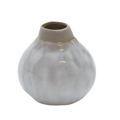 Gina Vase in white with grey rim