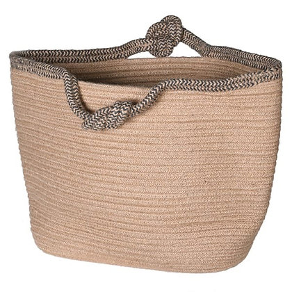 Woven bag with detailed knot handles
