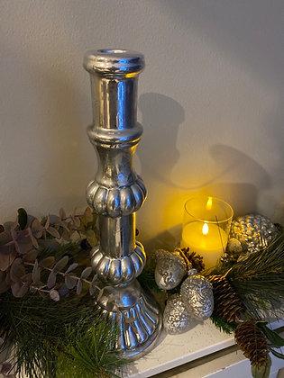 Medium  silver Mercury candlestick