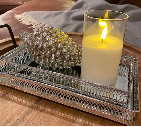 Two set tray with Decorative Med pine cone & Remote controlled led candle