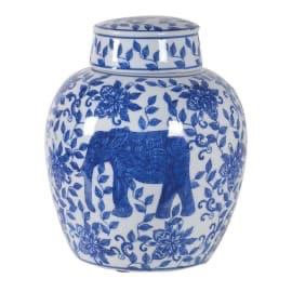 Blue and White Elephant Ceramic Jar