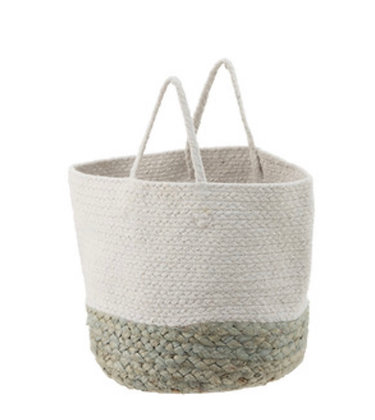 Basket Jute White/Sage Green Small