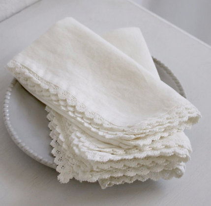 Napkin Linen lace edge off white colour set of 4