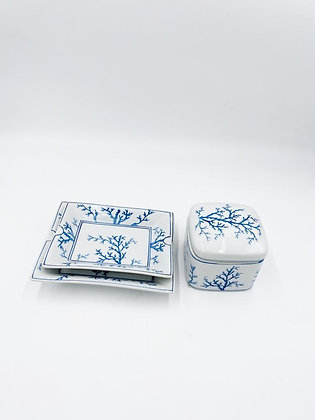 Blue Coral Tray and Box set
