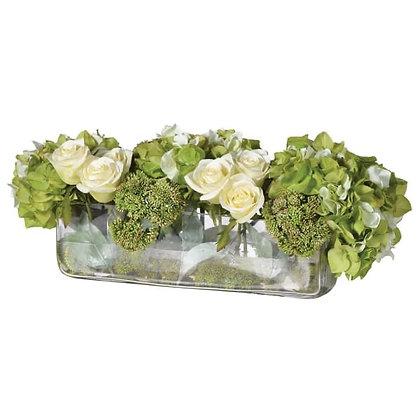 Limegreen hydrangea, seedum,cream roses in oblong glass vase