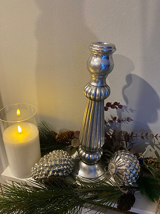 Large silver antique Mercury candlestick