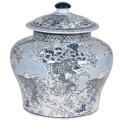 Chinese Carp Lidded Jar