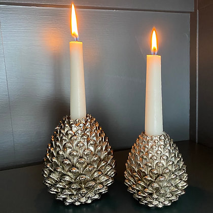 Pine Cone Candle Holder Set