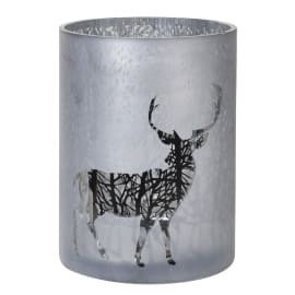 Med frosted candle holder with Reindeer & Forest Scene