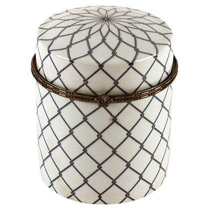 Tall Round Box with Blue Star Flower