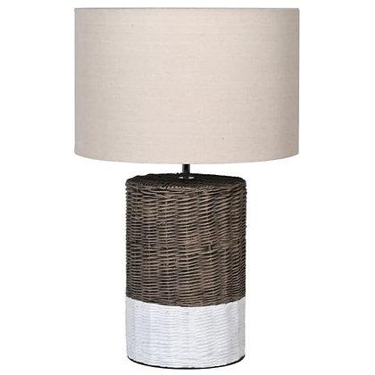 Lamp Rattan Base with White Stripe