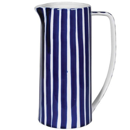 Navy and White Striped Jug
