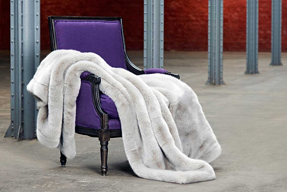 Luxurious Fur  faux throw with cashmere