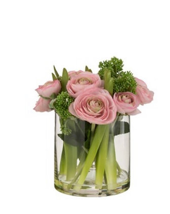 Glass vase with  pink Ranunculus