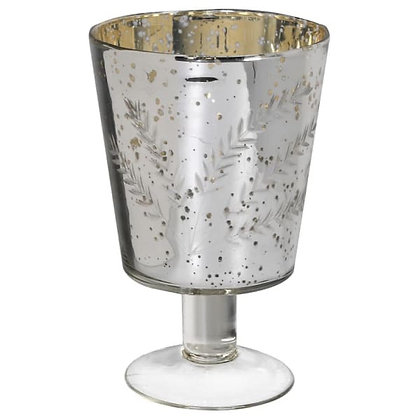 Footed silver Glass Vase