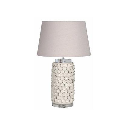 Cream Ceramic Lamp with Natural Shade