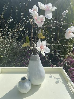 Set of two ceramic glazed vases & long magnolia stem