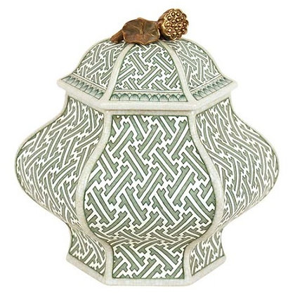 Green Hexagonal Jar with Lid
