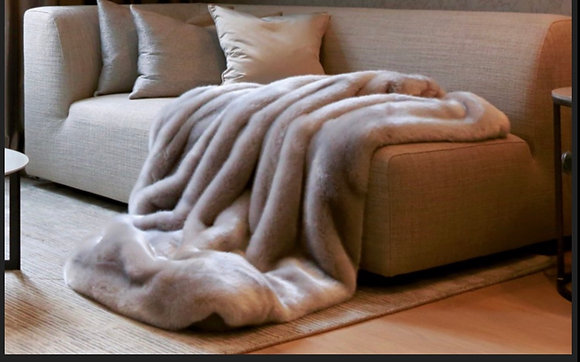 Fur faux throw  seal mocha with Cashmere
