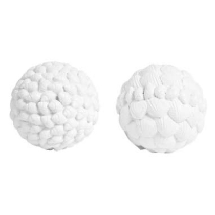 White Coquillage Decorative Balls in a Pair