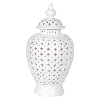 Pierced ginger jar white