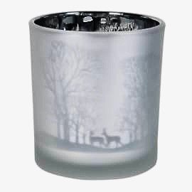 Tea light holder with deer&forest in a frosted silver colouring