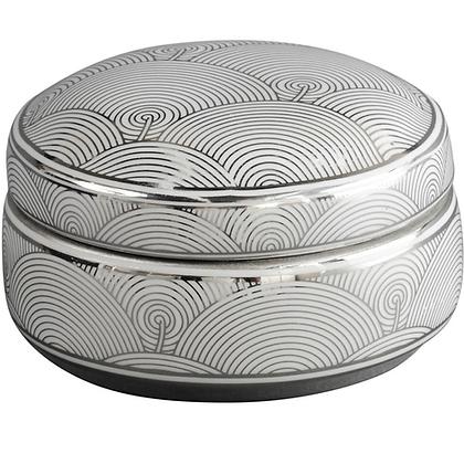 Silver and White Ceramic Trinket Box