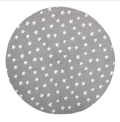 Grey printed Jute Rug